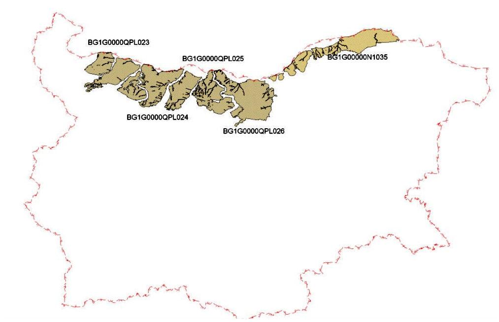 Водни тела в междуречните масиви в северна България